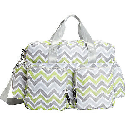 Trend Lab Green, Gray, and White Chevron Deluxe Duffle Diaper Bags & Accessorie