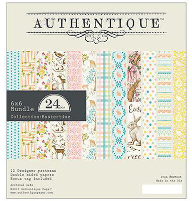 NEW!! Authentique 6x6 Paper Pad: Eastertime ETM008 Easter Bunny Spring