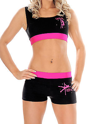 Wink Pole Dancing Contrast Band Crop Top or Shorts - pink or turquoise