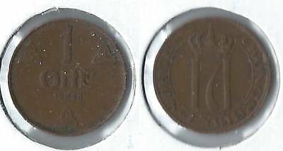 1928 Norway 1 ore coin