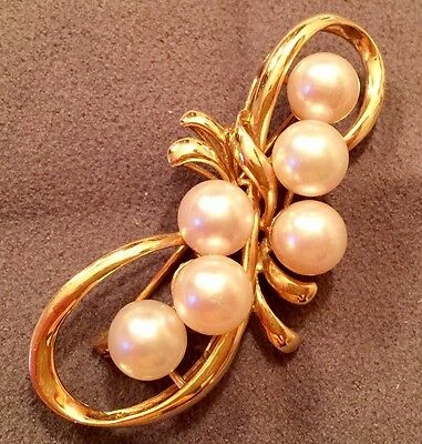14K Yellow-Gold/Creamy White Pearl Brooch