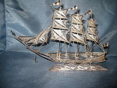 Vintage Sterling Silver Filigree Hand Crafted Three Mast Ship Boat, 70.31grams