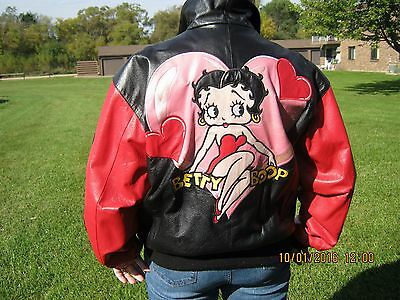 Betty Boop Leather Jacket - Vintage - Heavy, Lined - Genuine Leather