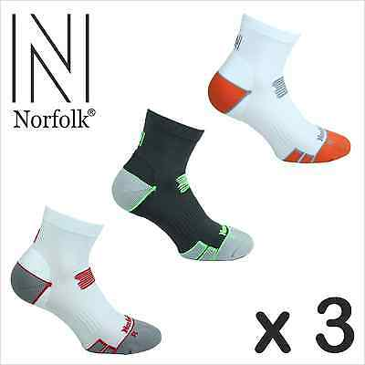 3 Pairs Men's Norfolk Running Cushioned  Ankle Sport Sock- Arnold