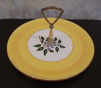 Vintage Stangl Pottery Serving Plate Dish Tidbit Tray Handle Blueberry
