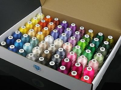 Simthread 63 Brother Colors Polyester 120d/2 40 Weight Embroidery Machine Thr...