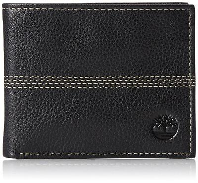 New Timberland Men's Premium Genuine Leather Id Bifold Wallet Black D08389/08