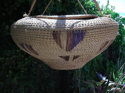 """Extra Large 25"""" Wide Rare Vintage African Kpelle Basket With Lid Liberia 1982"""