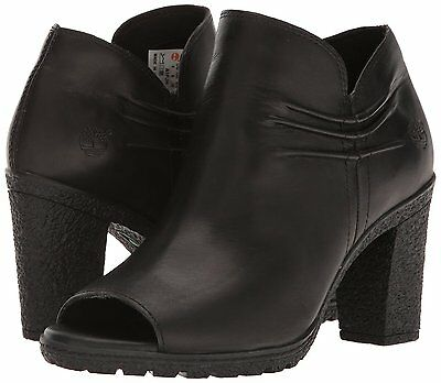 WOMEN'S TIMBERLAND GLANCY RUCHED PEEP TOE BOOTS, Black