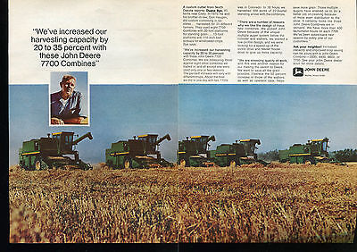 1971 John Deere 7700 Combine Farm Tractor 2 Page Print Ad