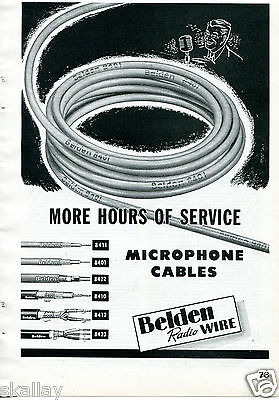 1948 Print Ad of Belden Radio Wire Microphone Cables More Hours of Service