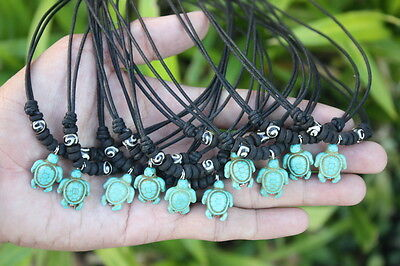 10 Handmade BLUE SEA TURTLE with Bone Beads Necklaces Wholesale *