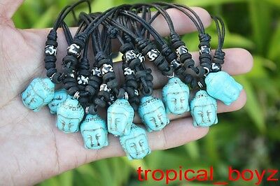 10 Handmade Artificial Stone BLUE Buddha with Bone Beads Necklaces Wholesale *