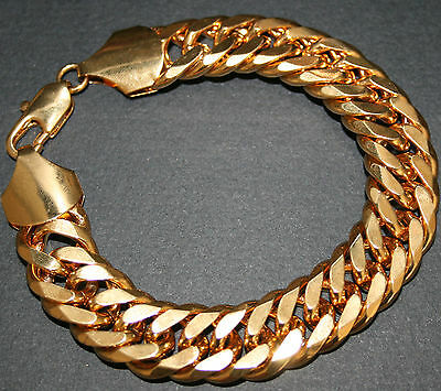 18kt gold filled bracelet 9 in Cuban Mens curb miami style links 2oz 16mm $195