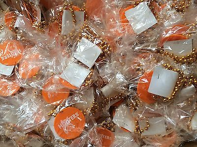 HOOTERS MARDI GRAS BEADS - Brand New - Orange Plastic  32 inches!!!! New in bag