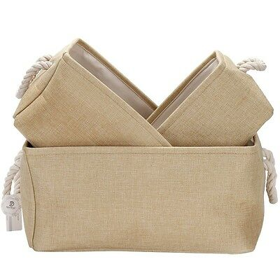 Foldable Square New Natural Linen Cotton Fabric Storage Bins Storage Baskets Org