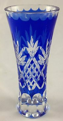 Cobalt Blue Crystal Clear Cut Glass Flared Top Pineapple Leaves Pattern Bud Vase