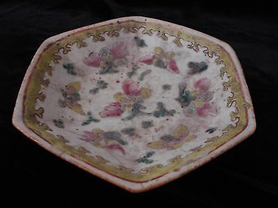 China Chinese Colour Family Rose Fruit Dish Qing Dynasty Antique