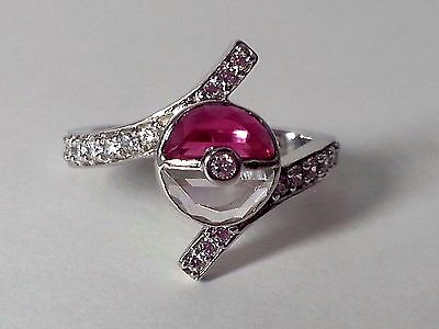Pokemon Half Round Pokeball White-Red Garnet 925 Sterling Silver Wedding Ring