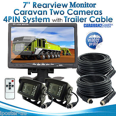 "7"" Monitor HD 12V/24V 2x Reversing Rearview 4PIN CCD Camera Kit Truck Caravan"