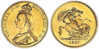 1887 Great Britain Victoria Gold 5 Pounds Pcgs Ms61