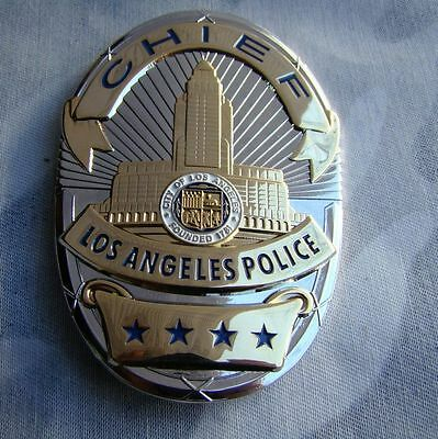 LAPD Chief Copper Medal Police Pin Badge Shield Brooch Cosplay Props Collection