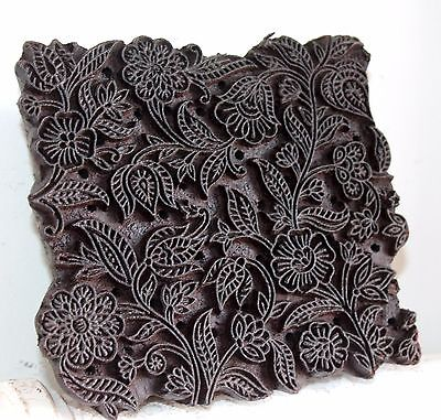 Vintage Traditional Hand Carved Wooden Textile/Fabric/wallpaper Print Block #079