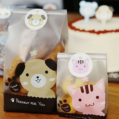 50Pcs Cute Cartoon Plastic Gift Bags Bakery Biscuit Cookie Candy DIY Cake Bags