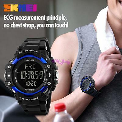 SKMEI Mens Pedometer Heart Rate Monitor Calories Counter Fitness Tracker