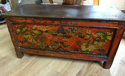 An Antique 18th Tibetan Hand painted red Lacquer chest box drawer clouds