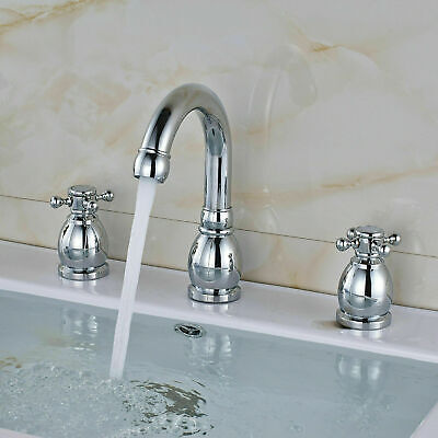 LED Light Waterfall Bathroom Faucet Widespread Sink Mixer Tap Brushed Nickel Tap