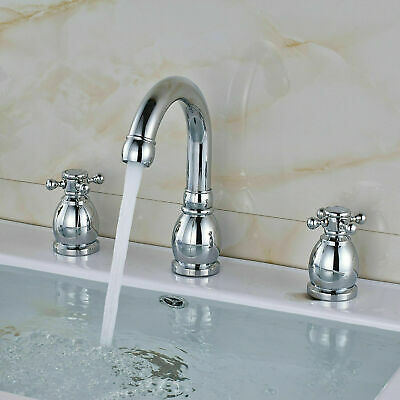 LED Waterfall Spout Bathroom Faucet Widespread Sink Tub Mixer Tap Brushed Nickel