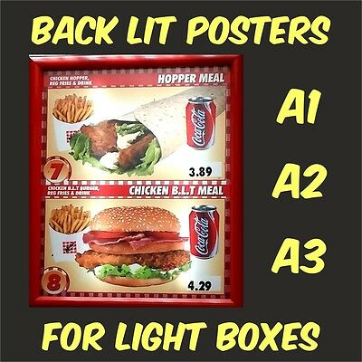Back Lit Poster Printing for Illuminated Light Boxes Menu Boxes Signs A3 A2 A1