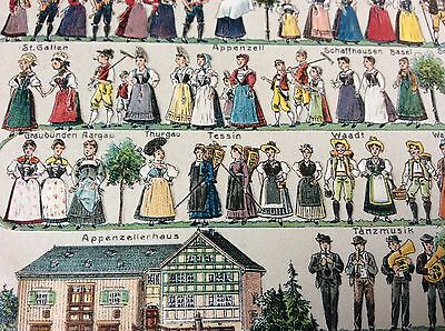 Antique Embossed Swiss Interest Pc Costumes Of Switzerland From Various Regions