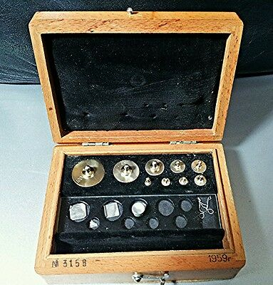 Vintage USSR Scale Weight Calibration Set ГОСМЕТ & Wood Box 1959 year