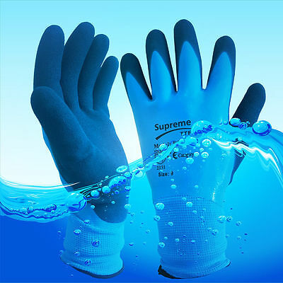 10 Pairs Blue Aqua Waterproof Fully Latex Coated Nylon Safety Work Gloves M L XL