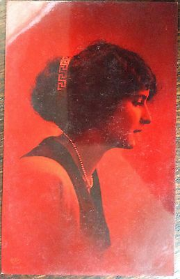 Antique Novelty Rppc View Of Side Profile Protait Of Beautiful Girl Unusual Red