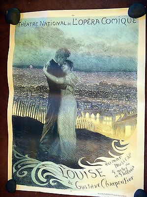 """Original Vintage French Opera Poster, """"Louise"""", 1900-1910 On Linen"""