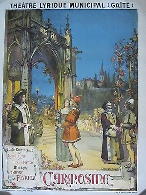 Authentic Vintage French Opera Poster, Carmosine, 1900-1910
