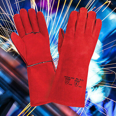 10 X Welding Gloves Red Welders Gauntlet Long Lined High Temperature Log Fire