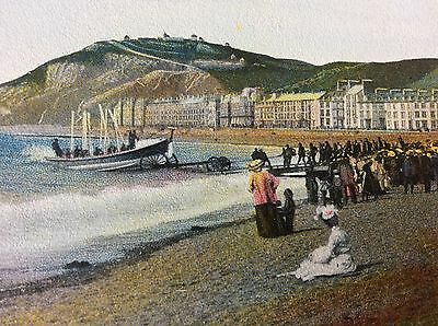 Antique Pc View Of People On Beach Launch Of The Lifeboat Aberystwyth Wales