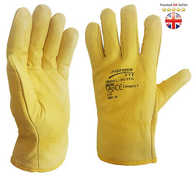 10 X Driver Work Gloves Fleece Cotton Lined Soft Leather Lorry Drivers Safety