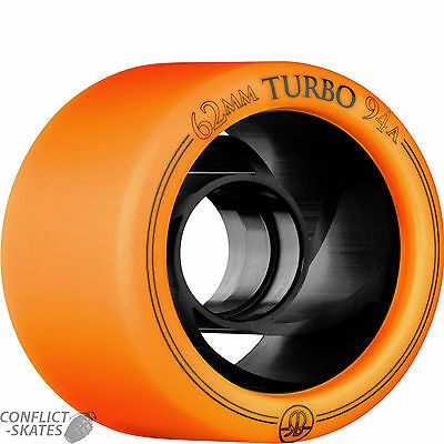 "ROLLERBONES ""Turbo"" Rollerskate wheels x8 94a 62mm ORANGE Roller Derby Speed"