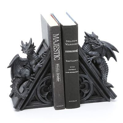 Gothic Castle Dragons Book Ends, 2 Sculptural Medieval Dragon Heads Bookends New