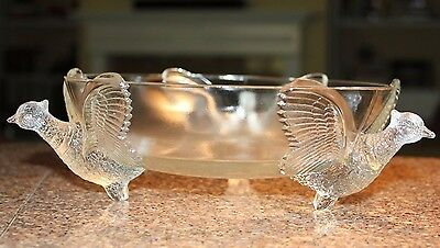 """VINTAGE-8""""-In-Flight-PHEASANT BOWL-Jeannette Depression Glass-3-FOOTED-Clear"""