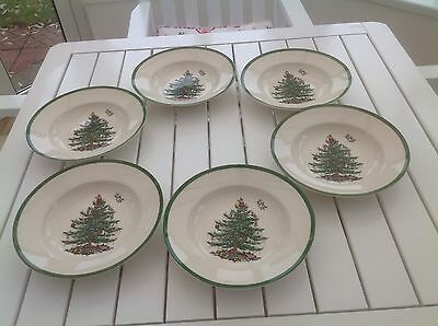 "Spode Christmas Tree Set of 6 Cereal/Soup/Pasta 9"" Bowls"