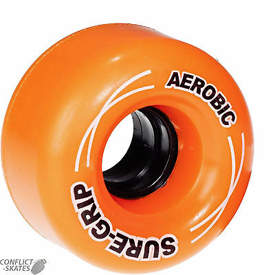 "SURE-GRIP ""Aerobic"" Rollerskate wheels x8 ORANGE fit Bauer Roller Derby Outdoor"