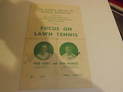 FRED PERRY, DAN MASKELL signed FOCUS ON LAWN TENNIS PRO GRAMME EARLY RARE ULSTER