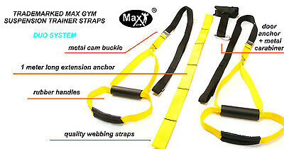 Duo  Max Gym® Suspension Trainer Straps Kit-Body Weight Exercise MMA yelow