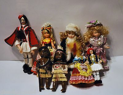 Vintage World Souvenir Dolls Collection in Traditional Costume 8 in total